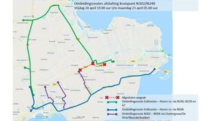 Weekendafsluiting kruising N302/N240 Zwaagdijk