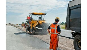 Wegwerkzaamheden: asfalteren traanbok