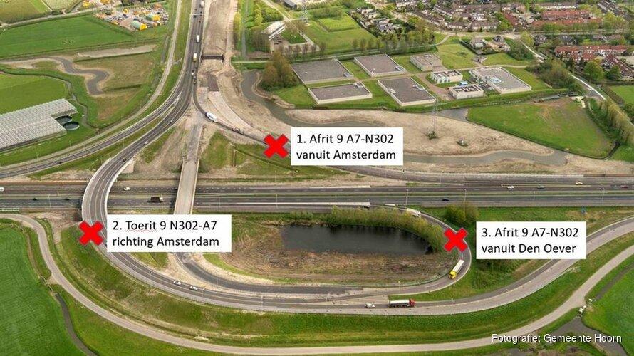 Op- en afritten afslag 9 Hoorn-Noord 's nachts afgesloten