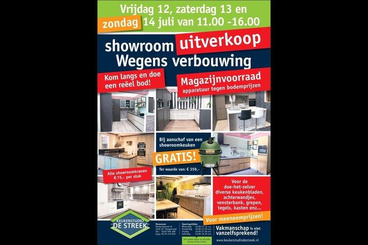 Vrijdag 12, zaterdag 13 en zondag 14 juli spectaculaire acties bij Keukenstudio De Streek tijdens showroomuitverkoop-weekend!